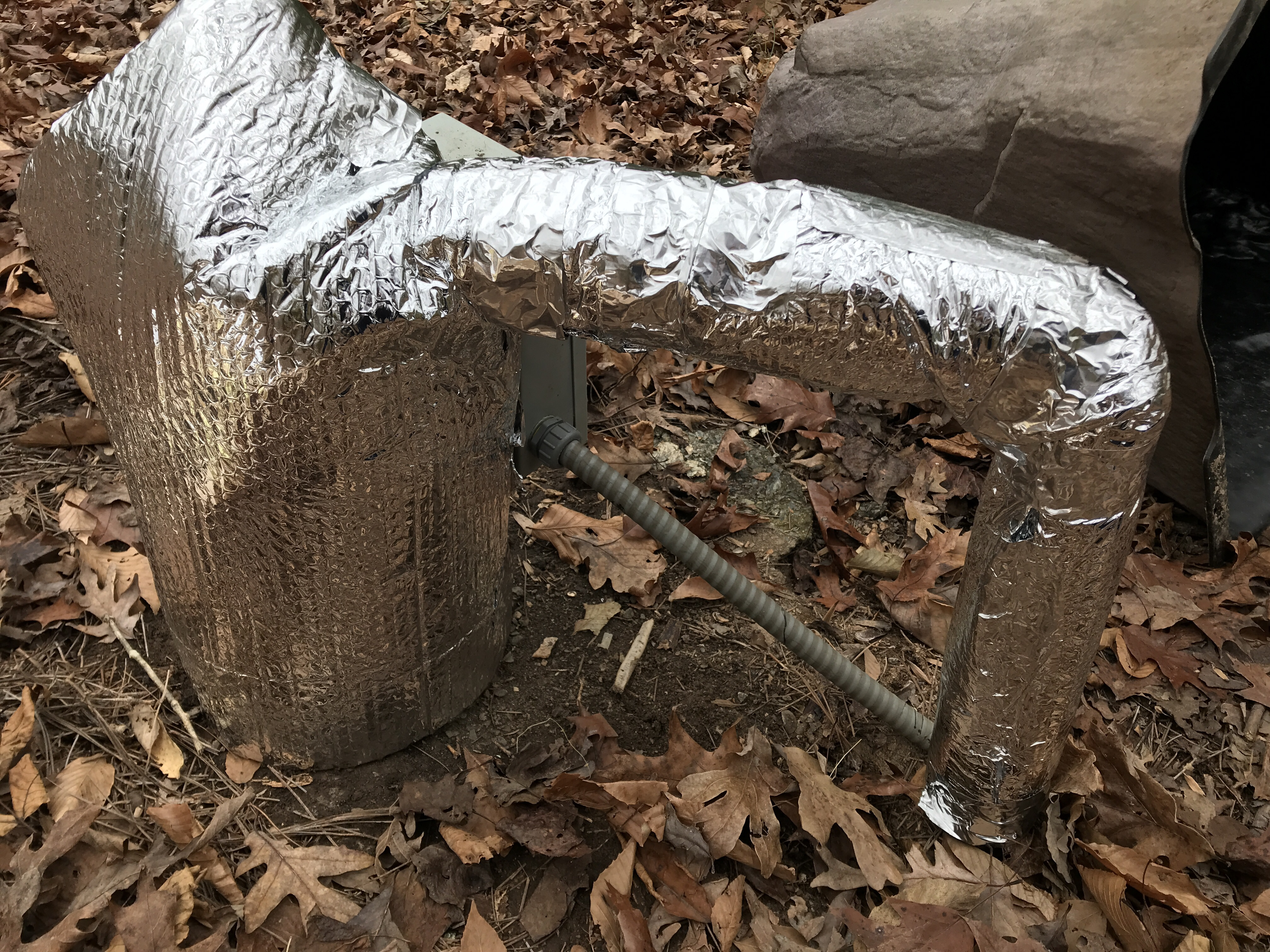 Insulating a well pump using foil bubble wrap